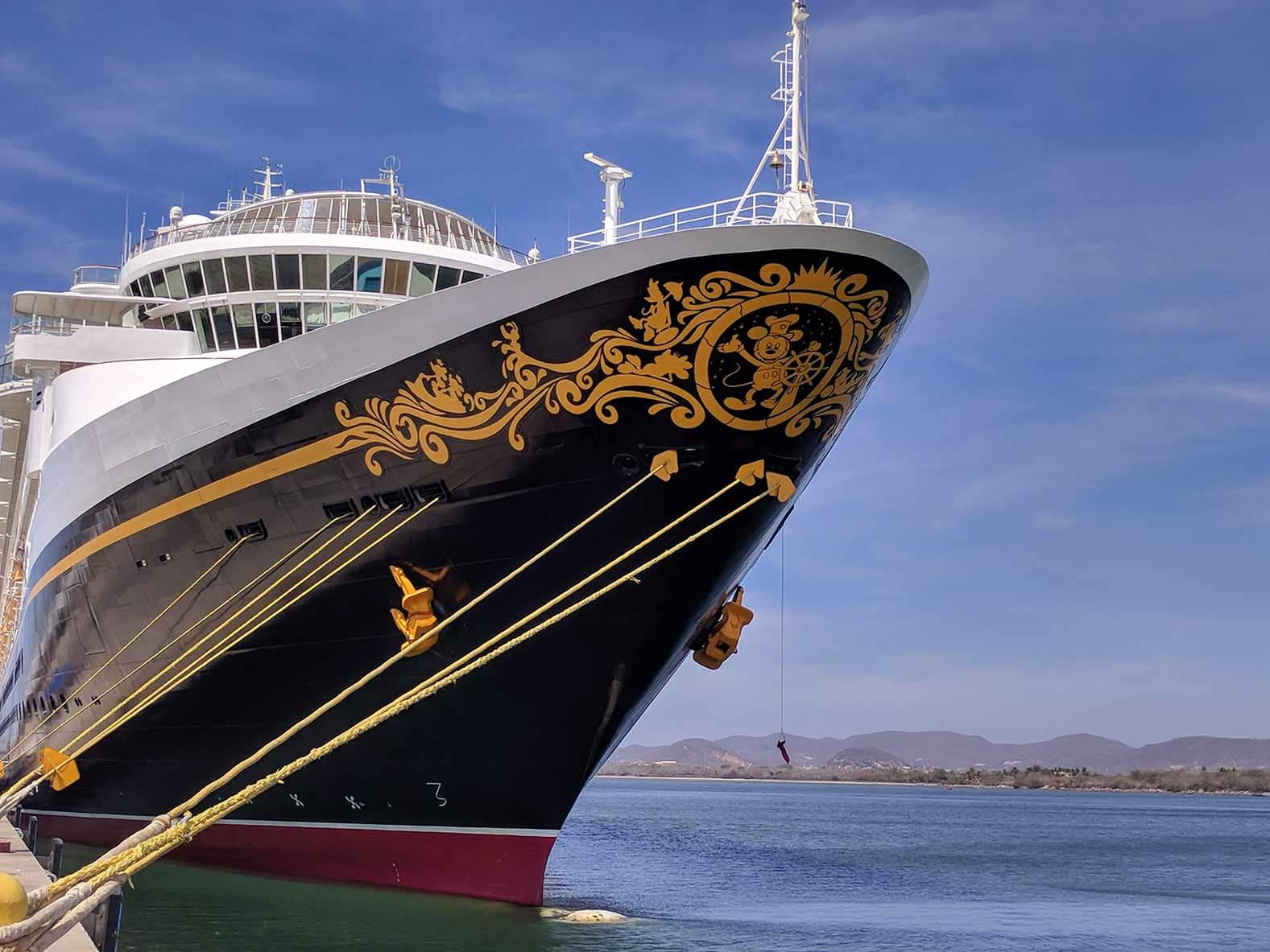 The bow of the Disney Wonder, one of Disney Cruise Lines ships.