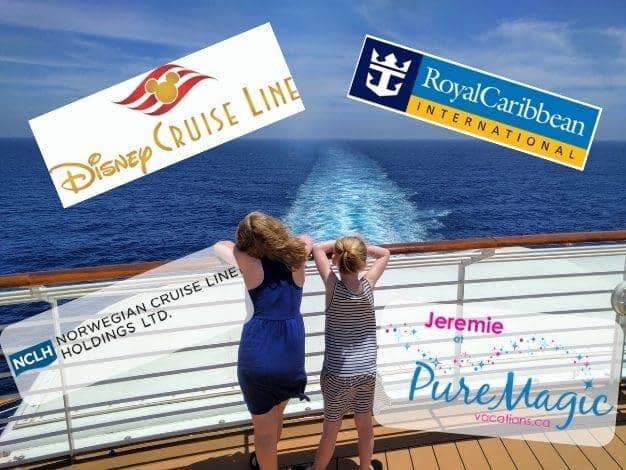 The logos for Disney Cruise Line, Royal Caribbean International and Norwegian Cruise Line Holdings Ltd. appear as 2 girls look out from the back of a cruise ship.