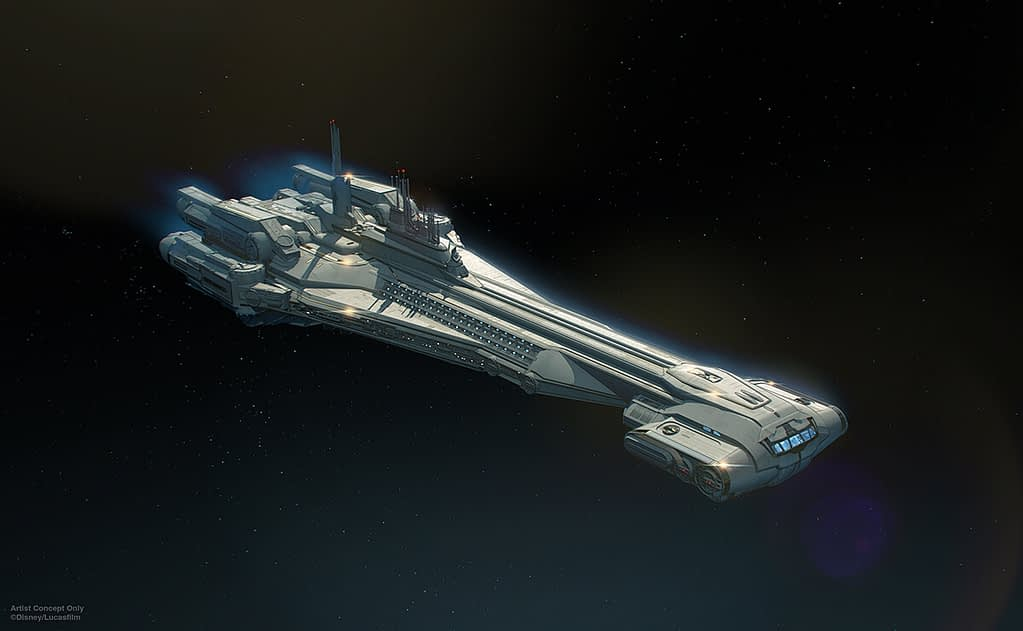 The Halcyon the first of the Galactic Starcruiser fleet.