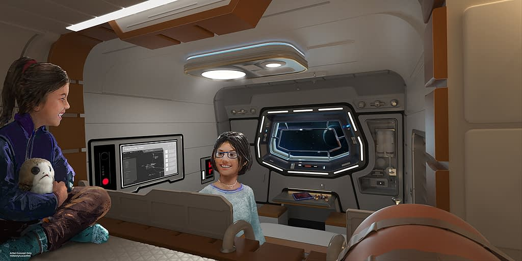 An artist concept of the cabin aboard the Star Wars: Galactic Starcruiser