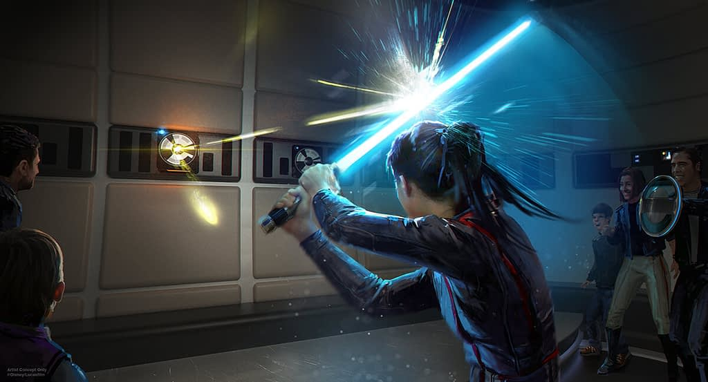 Test your lightsaber skills in the Lightsaber Training during your Star Wars: Galactic Starcruiser experience.
